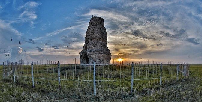 Ruins, Sunset, Plains, Kherlen Bars Ruins