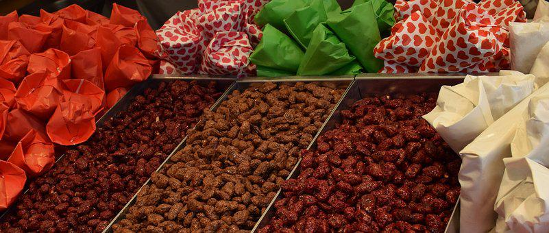Candied Nuts, Market, Colorful, Sales Stand, Food