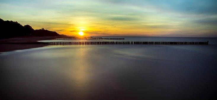 The Baltic Sea, Sunset, The Coast Of The Baltic Sea