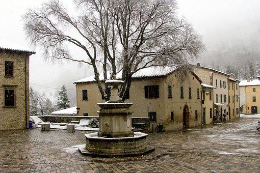 Village, Snowflakes, San Leo, Romagna, Rimini, Winter