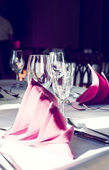 Banquet, Party, Wine Glass, Napkins, Table