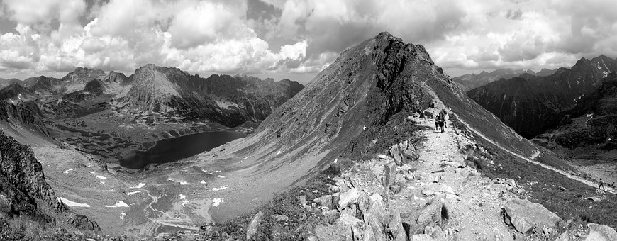 Mountains, Tatry, Panorama, Landscape, Black And White