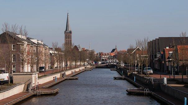 Steenwijk, Port, Water, City, Building, Shipping, Quay