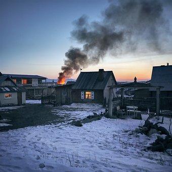 Fire, Village, Wooden Houses, Siberia, Winter, Smoke