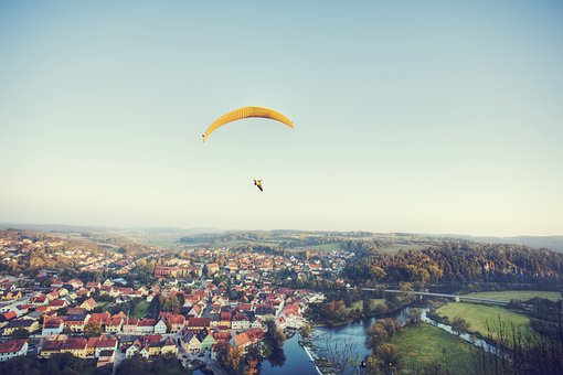 Paraglider, City, Paragliding, Fly, Sky, Float, Freedom