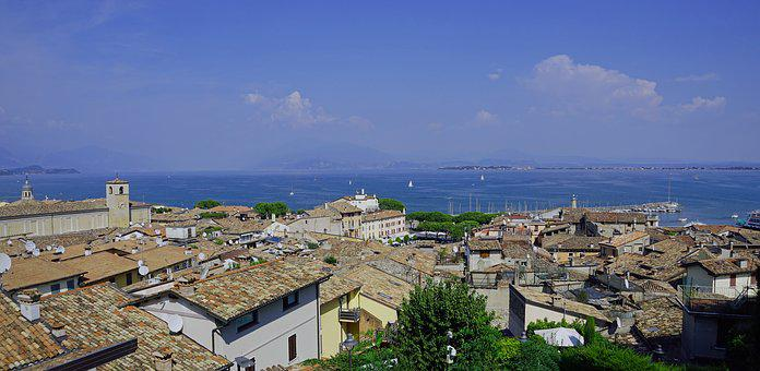 Desenzano, Garda, Italy, Roofs, Lago, Lake, Homes