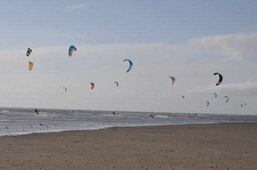 Kites, Beach, Wind, Sea, Flying, Activity, Seashore