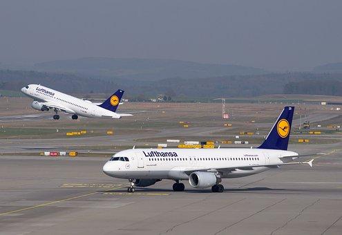 Lufthansa, Aircraft, Airport, Departure, Airbus, A320