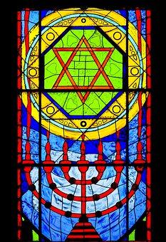 Vitrage, Menorah, Stained Glass, Window, Church Window