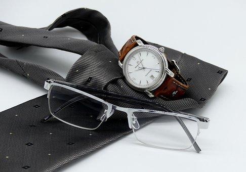 Wrist Watch, Clock, Tie, Reading Glasses, Mens, Man