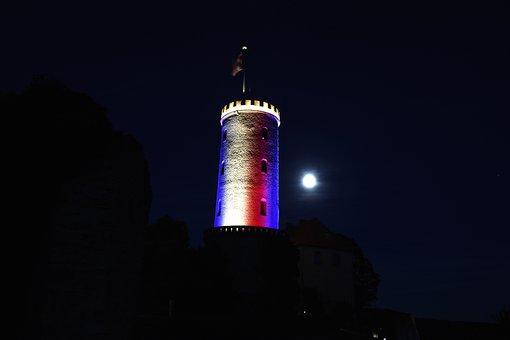 Sparrenburg, Bielefeld, Tower, Night, Historically