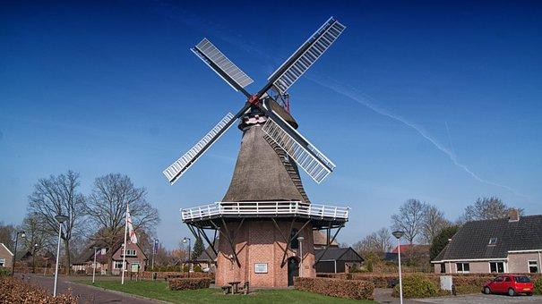 Nijeveen, Mill, Wicks, Outdoor, Wind Mill, Wooden Wicks