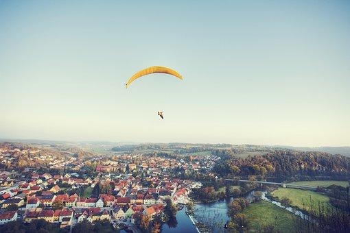 Paraglider, City, Paragliding, Flying, Sky, Float