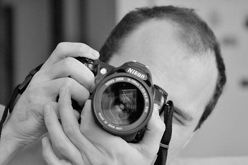 Photographer, Camera, Photography, Black And White