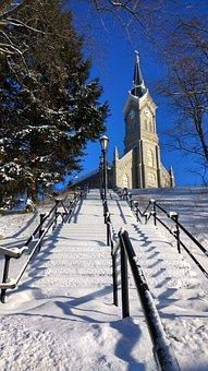 Church, Snow, Stairs, Port Washington, Winter, Religion