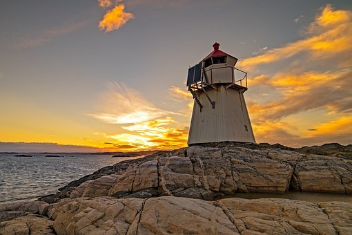 Lighthouse, Ocean, Sunset, Coast, Marine, Sea