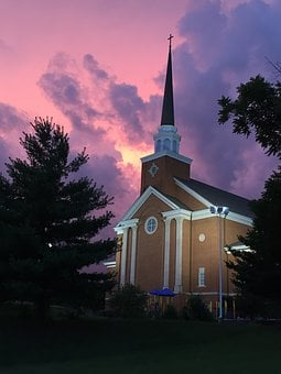 Church, Sunset, Steeple