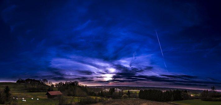 Sunset, Panorama, Sky, Landscape, Nature, Clouds