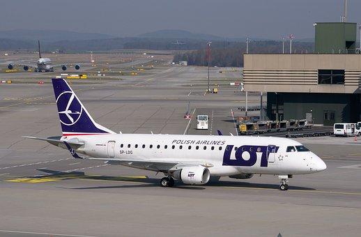 Aircraft, Lot, Embraer, Erj-170std, Airport, Tarmac