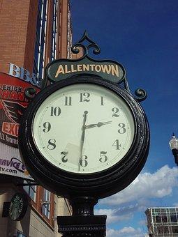 Clock, Allentown, Center City, Urban, Time, Streetview