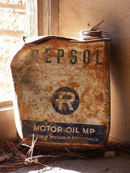 Can, Design, Engine Oil, Repsol, Old, Rusty, Vintage