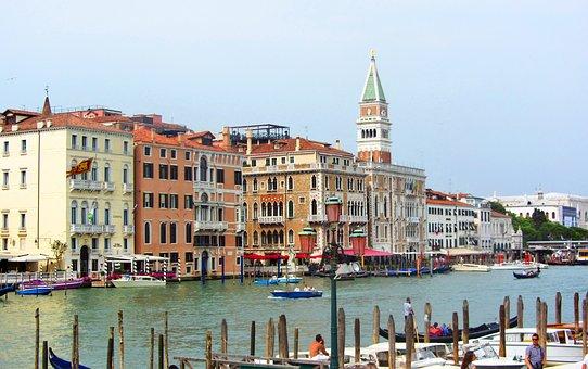 Venice, Italy, Gondolas, Barca, Channel, Water