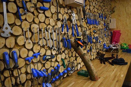 Bike Repair Shop, Tool, Workshop Table, Wooden Wall