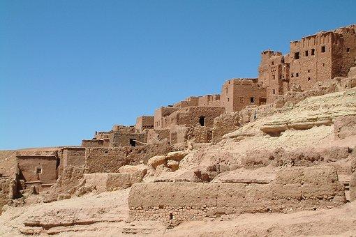 Morocco, Ait-benhaddour, Village, Desert, Housing, Sand