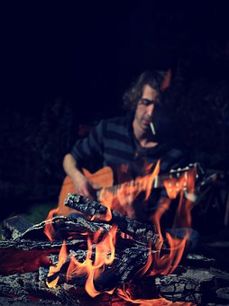 Campfire, Man, Guitar, Fire, Atmospheric, Wood, Sing