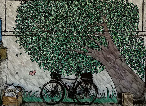 Bike, Art, Cartoon, Painting, Design, Bicycle, Cycle