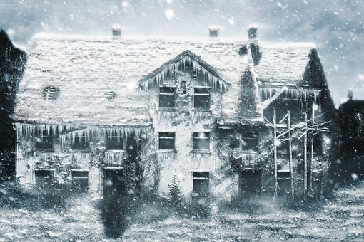 Winter, House, Ruin, Snow, Art, Design, Scrapbooking