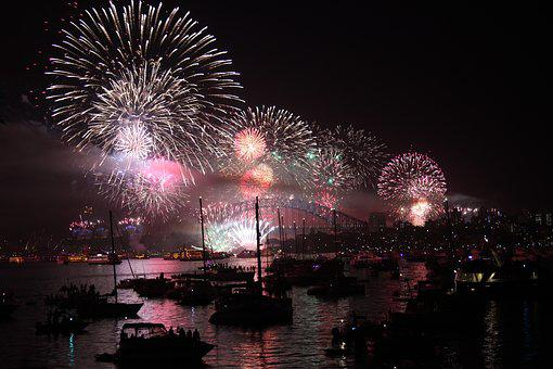 Sydney, New Year's Eve, Fireworks, Evening, Night
