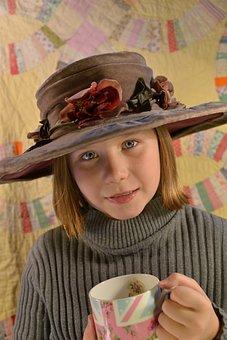 Hat, Girl, Tea, Brown Tea