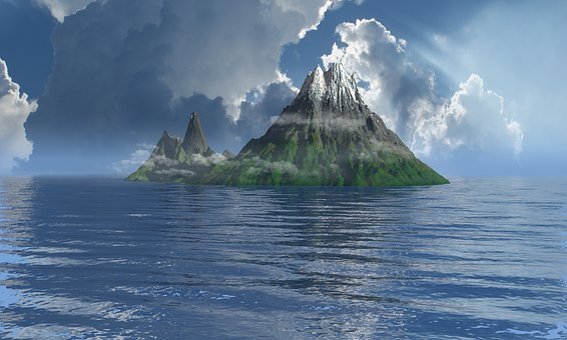 Island, Mist, Ocean, Nature, Landscape, Travel, Scenic