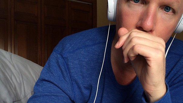 Person, Listening, Headphones, Eyes, Blue