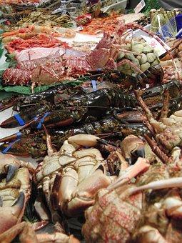 Lobster, Crab, Seafood, Boqueria, Barcelona, Food