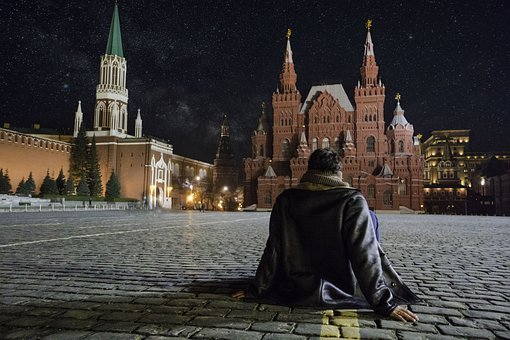 Red Square, Men Sitting, Looking, Casual, Male, Person