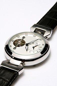 Wrist Watch, Mens, Chronometer, Clock, Silver, Bracelet