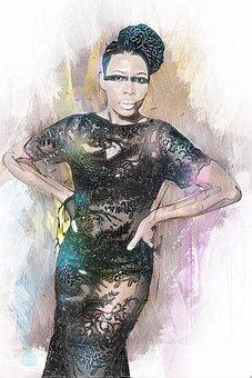 African American, Salon, Hipster, Model, Black Skin