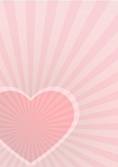 Postcard, Cover, Heart, Rays, Red, Pink