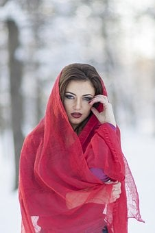 Portrait, Girl, Red, Beauty, Red Lipstick, Light