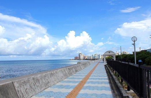 Blue Sky, Sea, Seaside, Promenade, Miyagi Coast
