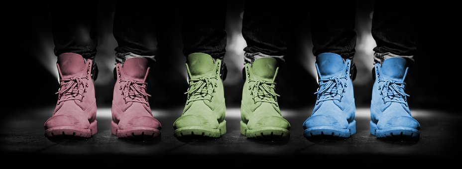 Shoes, Mode, Colors, Black Background, Red, Green, Blue
