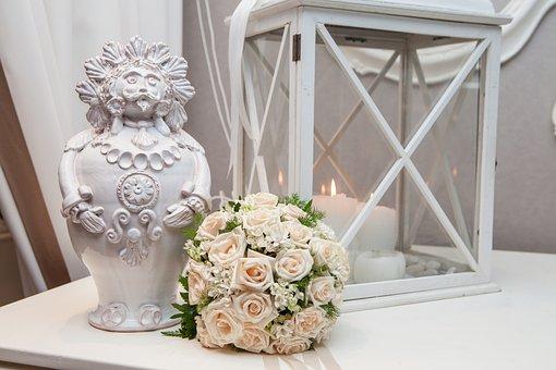 Bouquet, Flowers, Taranto, Pottery, Candles