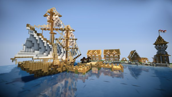 Minecraft, Boat, Water
