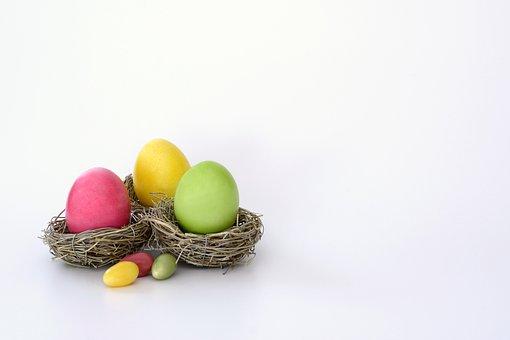 Easter Nest, Nest, Easter Eggs, Sugar Eggs, Colorful