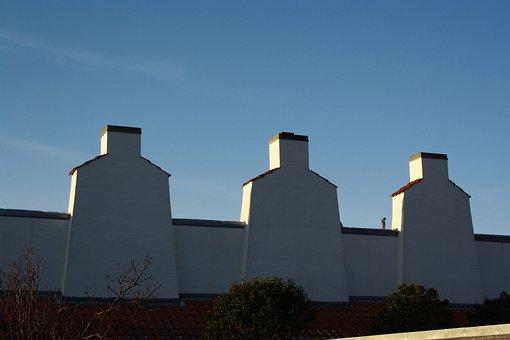 Ebeltoft, Hyttefadet, Chimneys, Mood, Blue Sky