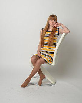 Girl, Female, On Chair, Striped Dress, Portrait