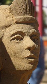 Head, Sand Sculpture, Face, Sculpture, Sand, Travel