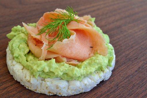 Rice Cake, Avocado, Smoked Salmon, Dill, Food, Healthy